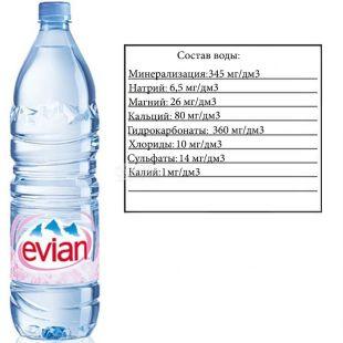 Evian, 1,5 л, Эвиан, Вода негазированная, ПЭТ