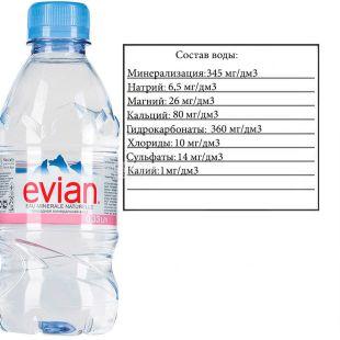 Evian, 0,33 л, Эвиан, Вода негазированная, ПЭТ