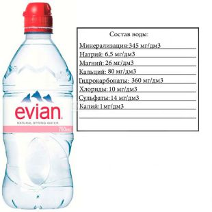 Evian, Спорт, 0,75 л, Евіан, Вода негазована, ПЕТ