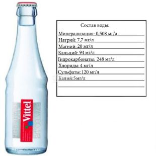 Vittel, Non-carbonated mineral water, 0.25 l, glass, glass