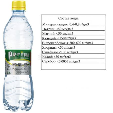 Регіна, 0,5 л, Вода газована мінеральна, ПЕТ