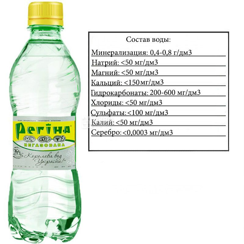Регіна, 0,33 л, Вода негазована мінеральна, ПЕТ
