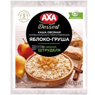 AXA, 40 г, Каша овсяная, Яблоко-груша со вкусом штруделя, моментального приготовления