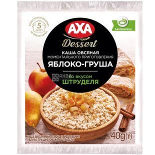 AXA, 40 г, Каша вівсяна, Яблуко-груша зі смаком штруделя, моментального приготування
