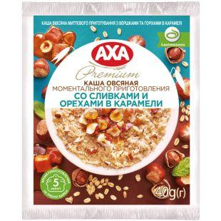 AXA, 40 г, Каша вівсяна, З вершками та горіхами у карамелі, моментального приготування