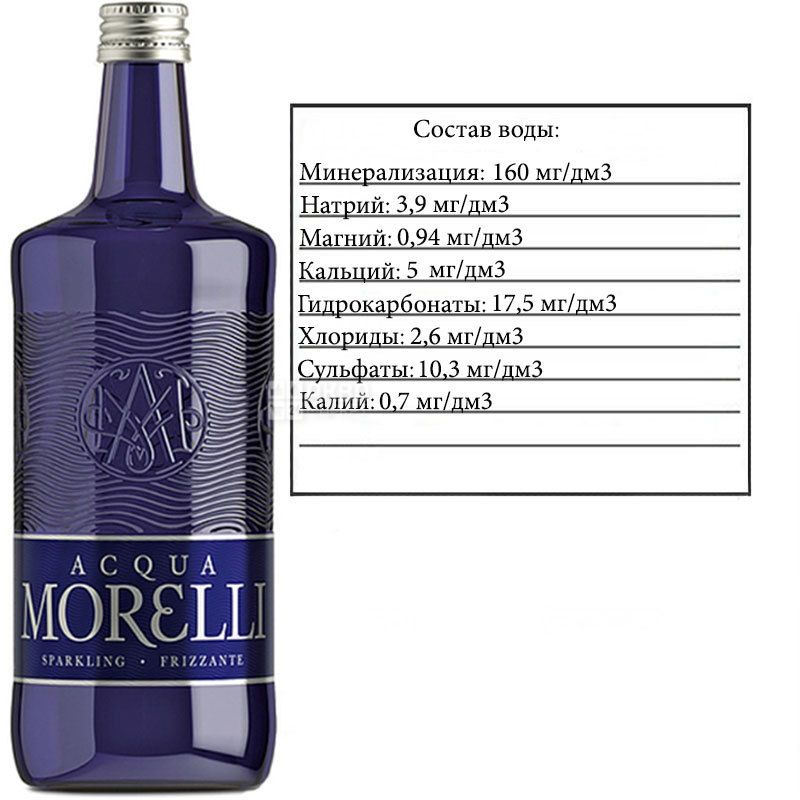 Acqua Morelli, 0,75 л, Аква Морелли, Вода минеральная газированная, стекло