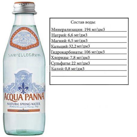 Acqua Panna, 0,25 л, Аква Панна, Вода минеральная негазированная, стекло
