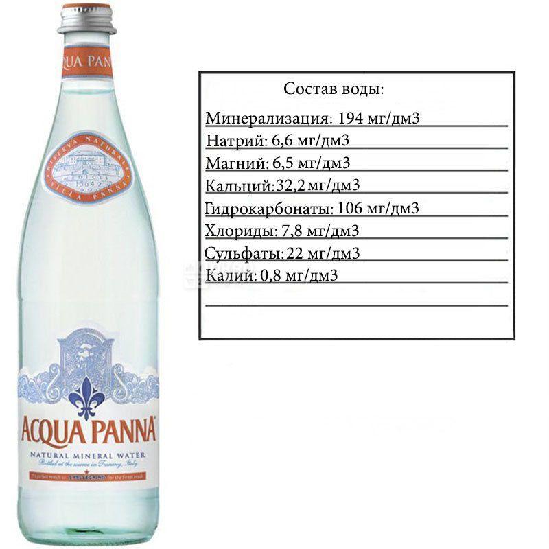 Acqua Panna, 0,75 л, Аква Панна, Вода мінеральна негазована, скло