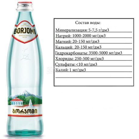 Borjomi, 0,33 л, Боржоми, Вода минеральная сильногазированная, стекло
