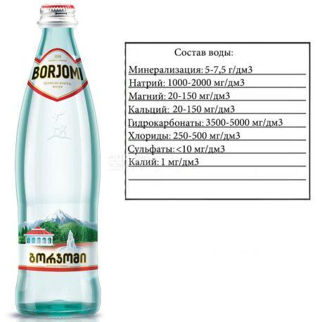 Borjomi, 0,5 л, Боржоми, Вода минеральная газированная, стекло