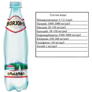 Borjomi Water, highly carbonated, 0.5 l, Mineral, PET, PAT