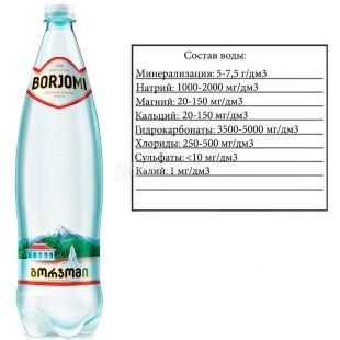 Borjomi, 1,25 л, Боржоми, Вода минеральная газированная, ПЭТ