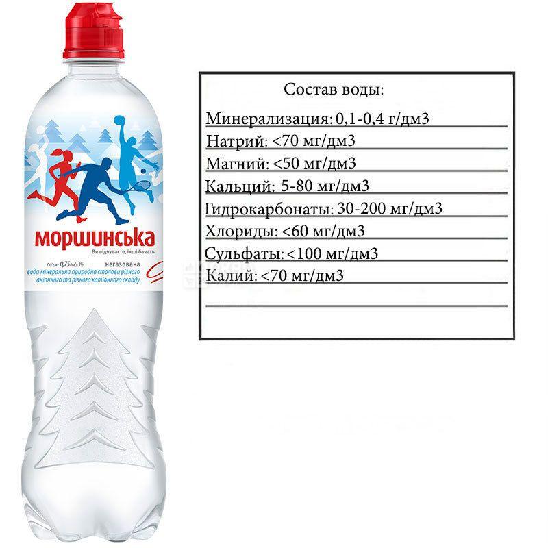 Моршинская Спорт, 0,75 л, Вода минеральная негазированная, ПЭТ