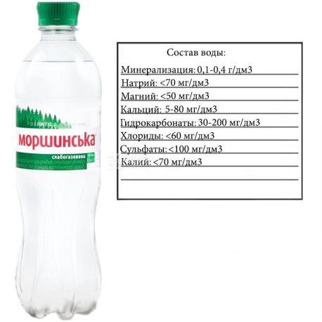 Моршинська, 0,5 л, Вода мінеральна слабогазована, ПЕТ
