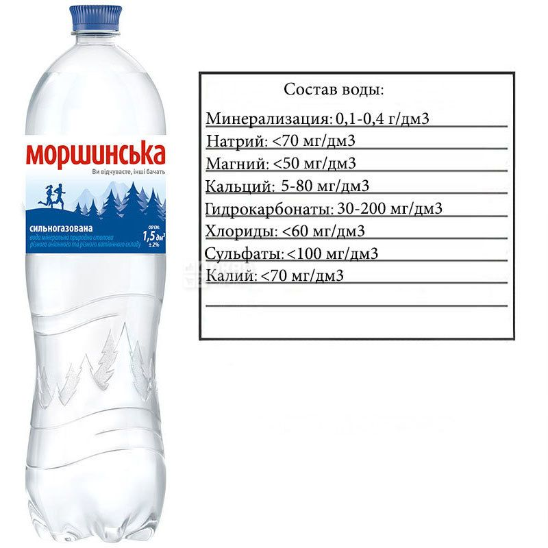 Моршинская, 1,5 л, Вода минеральная сильногазированная, ПЭТ