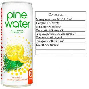 Моршинська Pine Water Лимон, 0,33 л, Вода слабогазована з екстрактом соснової хвої, без цукру, ж/б