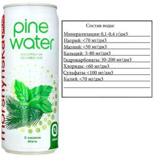 Моршинская Pine Water Мята, 0,33 л, Вода слабогазированная с экстрактом сосновой хвои, без сахара, ж/б