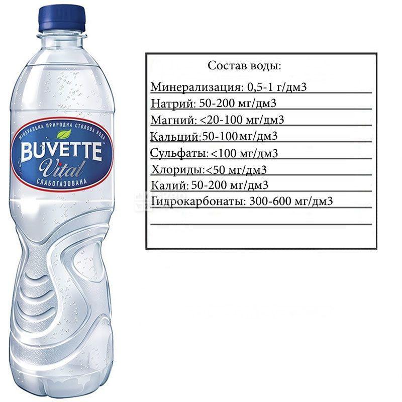 Buvette Vital, 0,5 л, Бювет Витал, Вода минеральная слабогазированная, ПЭТ