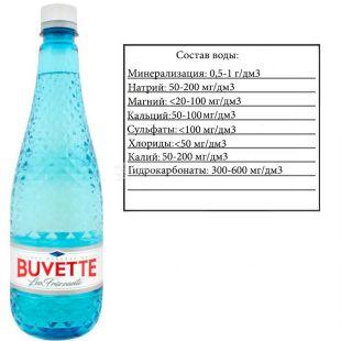 Buvette, Lux frizzante, 0,75 л, Бювет Люкс, Вода мінеральна, слабогазована, скло