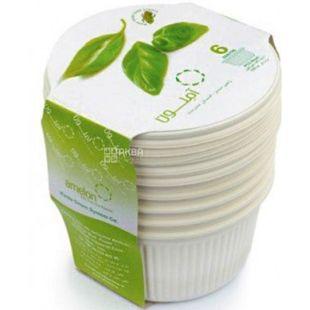 Amelon, Bio Salad Bowl Set, 550 ml, with caps, corn starch, 6 pcs.