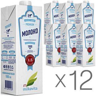 Милкавита 1,5%, 1 л, Упаковка 12 шт., Молоко ультрапастеризоване, 1,5%