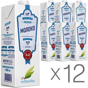 Милкавита молоко 3,2%, 1 л, Упаковка 12 шт., Молоко ультрапастеризоване