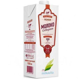 Милкавита, 1л, 3,6-4,2%, Молоко добірне ультрапастеризоване