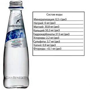 San Benedetto, 0,25 л, Сан Бенедетто, Вода минеральная газированная, стекло