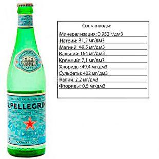 San Pellegrino, 0,5 л, Сан Пеллегріно, Вода мінеральна газована, скло