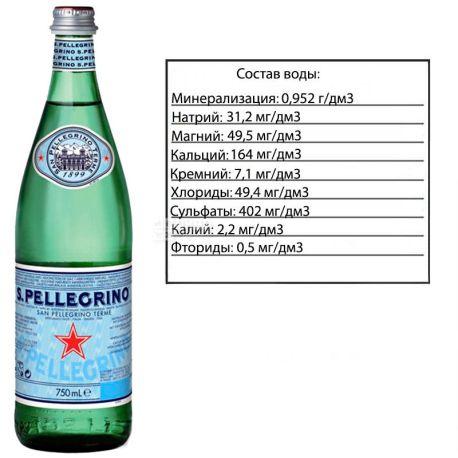 San Pellegrino, 0,75 л, Сан Пеллегріно, Вода мінеральна газована, скло