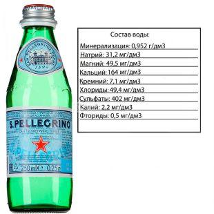 San Pellegrin, 0.25 L, Carbonated, glass, glass
