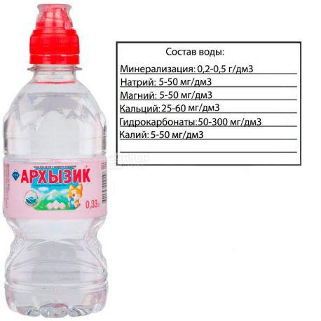Архызик, спорт, 0,33 л, Вода минеральная негазированная, ПЭТ