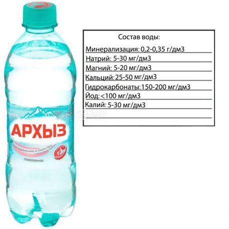 Архыз вода, 0,5 л, минеральная газированная, ПЭТ