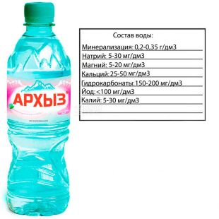 Arkhyz, Non-carbonated mineral water, 0.5 L, PET, PAT