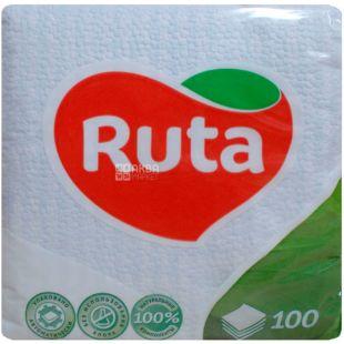 Ruta, 100 шт., Салфетки столовые Рута, однослойные, 24x24 см