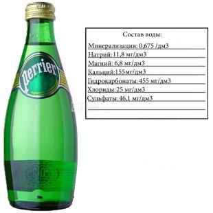 Perrier, 0,33 л, Перье, Вода минеральная сильногазированная, стекло