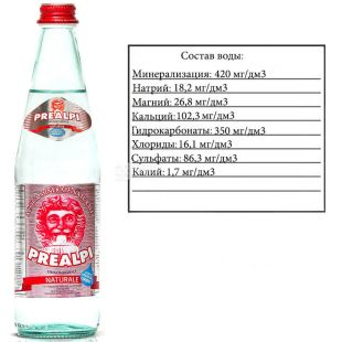 Fonti Prealpi, 0,5 л, Фонті Преалпі, Вода мінеральна, негазована, скло