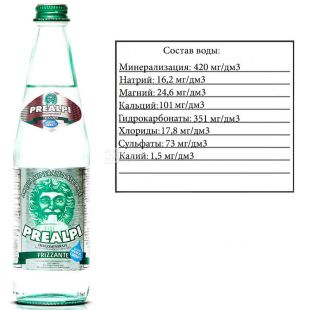Fonti Prealpi, 0.5 L, Fonti Prealpi, Mineral water, carbonated, glass