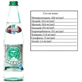Fonti Prealpi, 0,5 л, Фонті Преалпі, Вода мінеральна, газована, скло