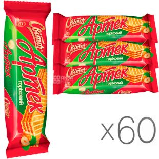 Свиточ, упаковка 60 шт., по 80 г, Вафли Артек, со вкусом ореха
