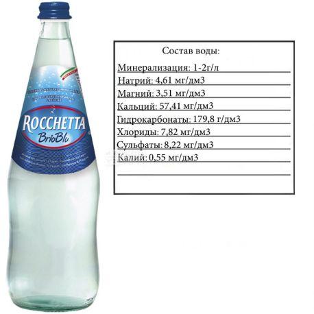 Rocchetta Brio Blu, 1 л, Рочетта Брио Блю, Вода минеральная газированная, стекло
