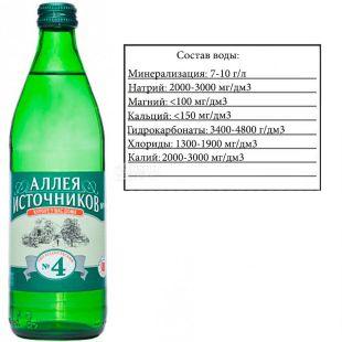 Аллея Источников, Ессентуки №4, 0,5 л, Вода минеральная газированная, стекло