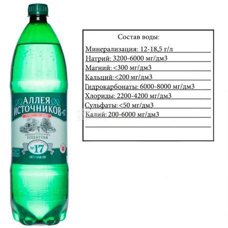 Аллея Источников, Ессентуки №17, 1,5 л, Вода минеральная газированная, ПЭТ