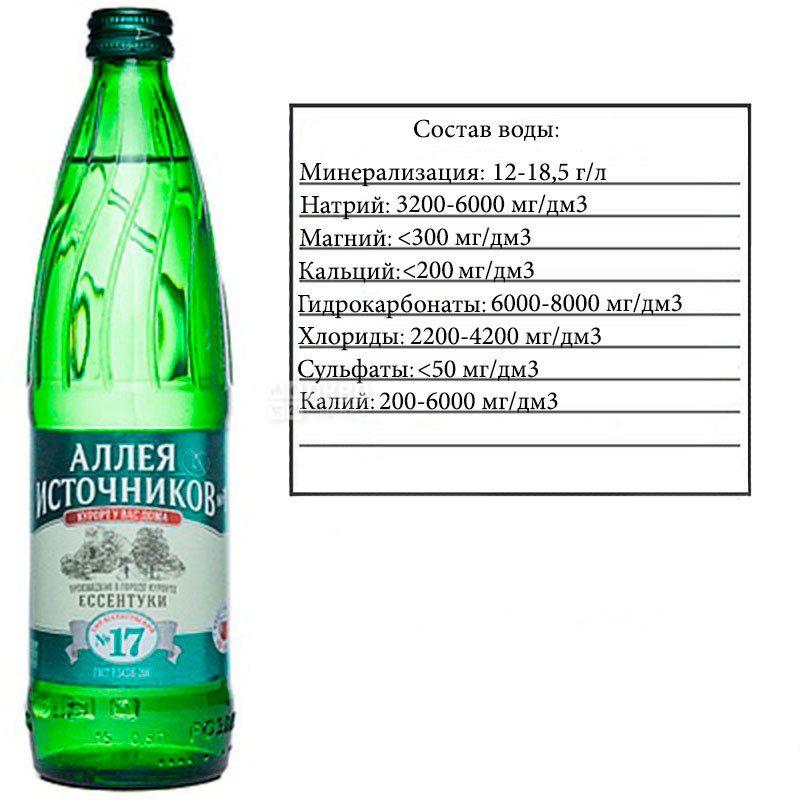 Аллея Источников, Ессентуки №17, 0,5 л, Вода минеральная газированная, стекло