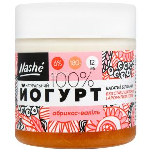 Nashe, 180 g, Yogurt thick, apricot vanilla, 6%