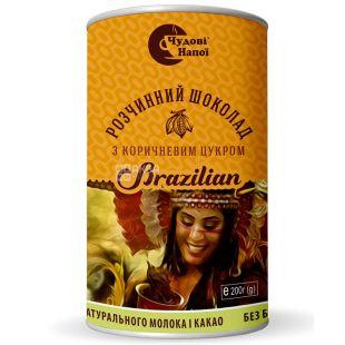 Чудові Напої, Brazilian, 200 г, Горячий шоколад Бразилиан с коричневым сахаром