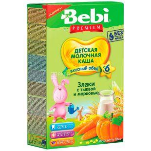 Bebi Premium, 200 г, Бебі Преміум, Каша молочна, Злаки з гарбузом і морквою, з 6-ти місяців