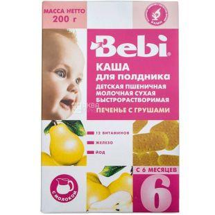 Bebi Premium, 200 г, Беби Премиум, Каша молочная, Пшеничная Печенье с грушей, для полдника, с 6-ти месяцев