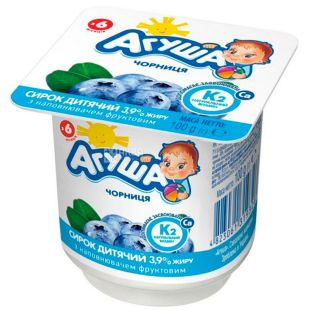 Agusha, 100 g, Cottage cheese for children, with blueberries, from 6 months, 3.9%
