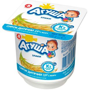 Agusha, 100 g, Cottage cheese for children, Cereals, from 8 months, 3.9%